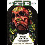 Grateful Dead 10/2/1994 Boston Backstage Pass