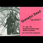 Grateful Dead 11/30/1994 Denver Backstage Pass