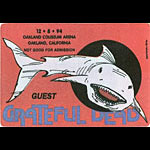 Grateful Dead 12/8/1994 Oakland Backstage Pass