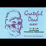 Jerry Garcia Grateful Dead 3/18/1995 Philadelphia Backstage Pass