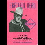 Grateful Dead 3/19/1995 Philadelphia Backstage Pass