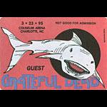 Grateful Dead 3/23/1995 Charlotte NC Backstage Pass