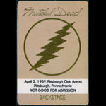 Grateful Dead 4/2/1989 Pittsburgh Backstage Pass