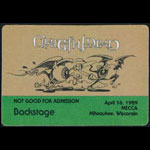 Rick Griffin Grateful Dead 4/16/1989 Milwaukee Backstage Pass