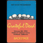 Rick Griffin Grateful Dead 2/26/1990 Oakland Backstage Pass