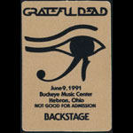 Grateful Dead 6/9/1991 Thornville/Hebron OH Backstage Pass
