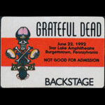 Rick Griffin Grateful Dead 6/22/1992 Burgettstown PA Backstage Pass