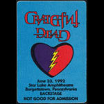 Grateful Dead 6/23/1992 Burgettstown PA Backstage Pass