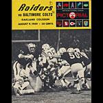 1969 Oakland Raiders vs Baltimore Colts Pro Football Program