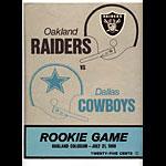 1969 Oakland Raiders vs Dallas Cowboys Rookie Game Program Program