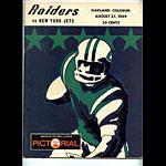 1969 Oakland Raiders vs New York Jets Program Program
