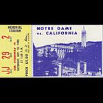 1959 Notre Dame vs Cal Football Ticket