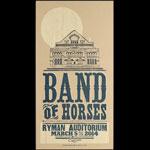 Hatch Show Print Band of Horses at Ryman Auditorium Poster