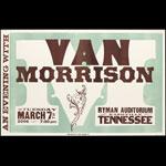 Hatch Show Print Van Morrison at Ryman Auditorium Poster