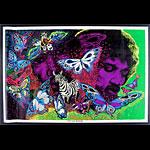1972 Jimi Hendrix Silkscreen Blacklight  Poster
