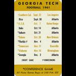 Georgia Tech 1961 Pocket College Football Schedule