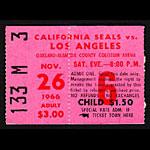 1966 California Seals vs. Los Angeles Blades Hockey Ticket