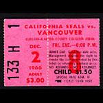 1966 California Seals vs. Vancouver Canucks Hockey Ticket