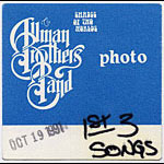 Allman Brothers Band 1991 Blue Photo Backstage  Pass
