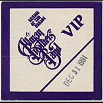 Allman Brothers Band 1991 Purple VIP Pass
