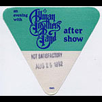 Allman Brothers Band 1992 Green After Show Pass