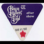 Allman Brothers Band 1992 Purple After Show Pass