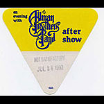 Allman Brothers Band 1992 Yellow After Show Pass