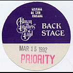Allman Brothers Band 1992 Purple Backstage Pass