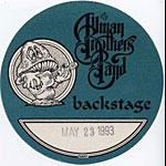 Allman Brothers Band 1993 Blue Backstage Pass