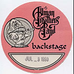 Allman Brothers Band 1993 Pink Backstage Pass