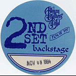 Allman Brothers Band 1994 Blue Backstage Pass