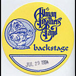 Allman Brothers Band 1994 Yellow Backstage Pass
