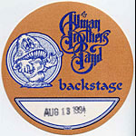 Allman Brothers Band 1994 Brown Backstage Pass