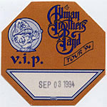 Allman Brothers Band 1994 Brown VIP Pass