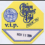 Allman Brothers Band 1994 Yellow VIP Pass