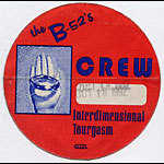 B-52's 1992 Interdimensional Tourgasm Crew Backstage  Pass