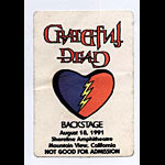 Grateful Dead 1991 Shoreline Backstage Pass