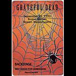 Reonegro Grateful Dead 9/25/1993 Boston Backstage  Pass