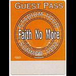 Faith No More 1992 Guest Pass