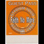 Faith No More 1992 Guest Backstage  Pass