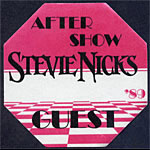 Stevie Nicks 1989 Pink After Show Guest Backstage  Pass