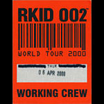 Oasis World Tour 2000 Working Crew Backstage Pass