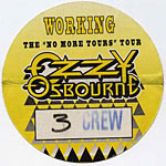 Ozzy Osbourne 1992 No More Tours Yellow Crew Pass