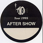 Phish 1995 Black After Show Pass