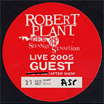 Robert Plant and the Strange Sensation Backstage Pass