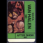 Van Halen 1981 After Show Pass