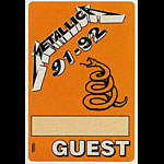 Metallica 1991-1992 Orange Guest Pass