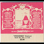 Alton Kelley and Rick Griffin Kelley and Griffin BG133 Creedence 1968 Fillmore Ticket