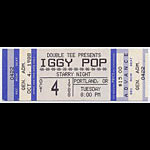 Iggy Pop 1988 Portland Ticket