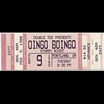 Oingo Boingo 1988 Portland Ticket